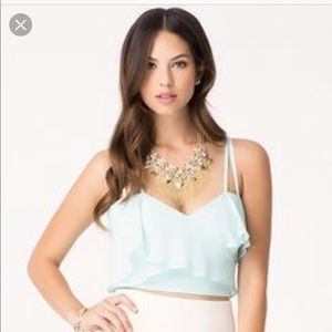 Bebe cropped blue surplice top cute cami XS S